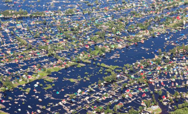 Ob River Flood June 2015 Aerial View of same houses in vicinity of Nizhnevartovsk, Tyumen region, Russia. Aerial view of the residential area of the suburb of Nizhnevartovsk during the flood of 2015.
